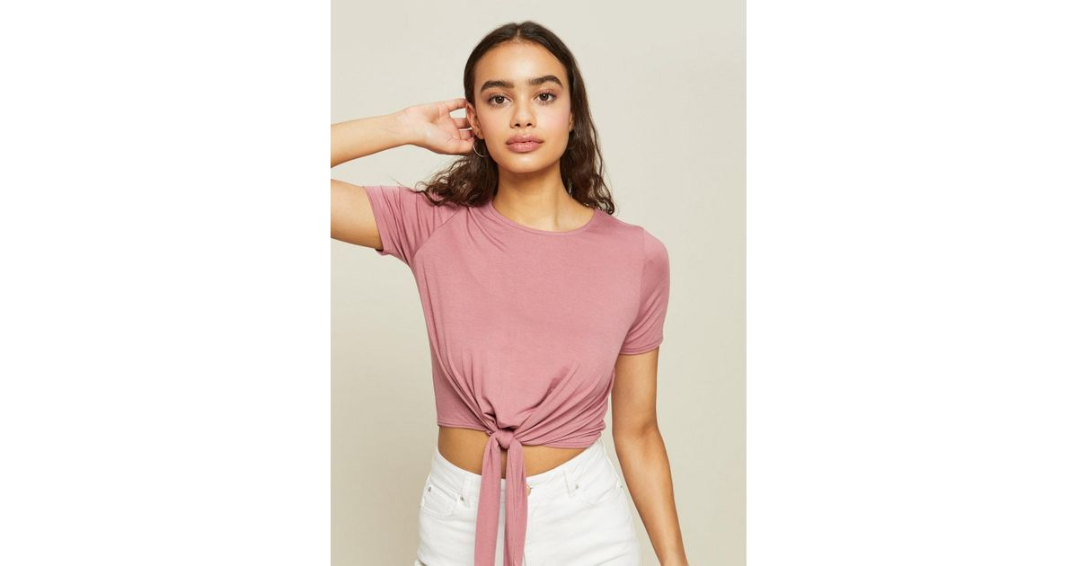2b7d2995aa47d Miss Selfridge Pink Tie Front Top in Pink - Lyst