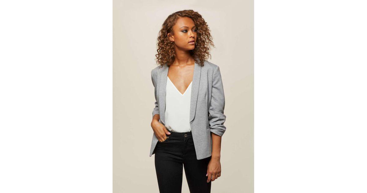 5a1306ec7d67e Lyst - Miss Selfridge Grey Ruched Sleeve Ponte Blazer in Gray