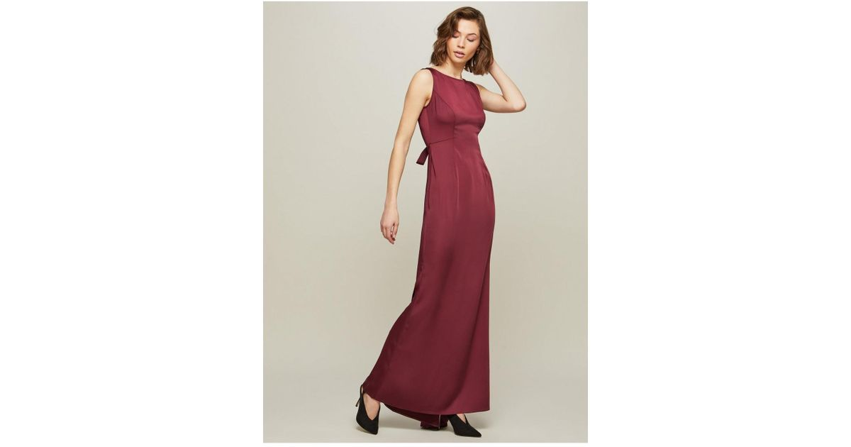 d76741af9326ec Miss Selfridge Burgundy Fishtail Prom Maxi Dress in Red - Lyst