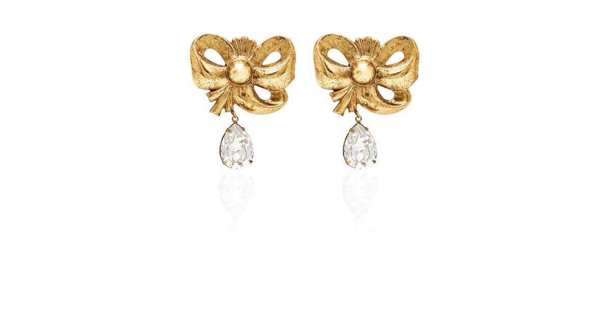 Lyst Rodarte Antique Gold Bow Earrings With Teardrop Swarovski Detail In Metallic