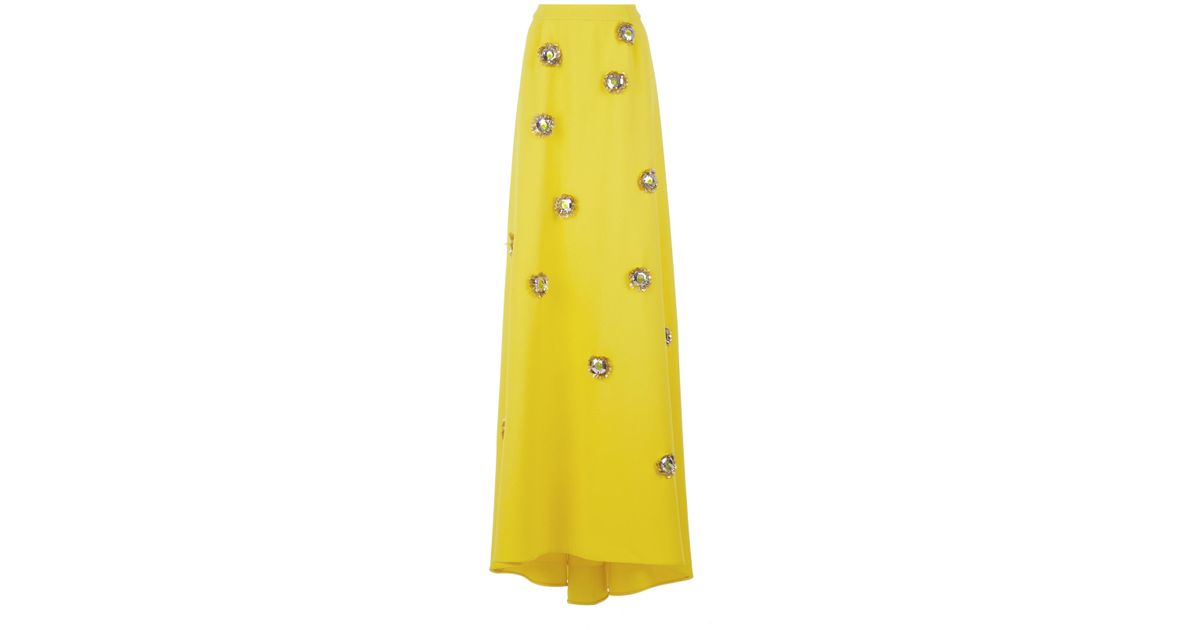 696d3b85d397 delpozo-yellow-Embellished-Crepe-Maxi-Skirt.jpeg