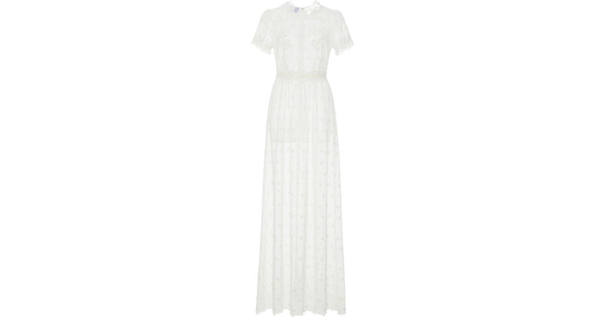 467b07c49dcc Luisa Beccaria Georgette Eyelet Long Dress in White - Lyst