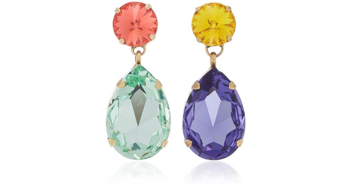 Lyst Roxanne Oulin Hip Hop But Not Mismatched Swarovski Crystal Clip Earrings