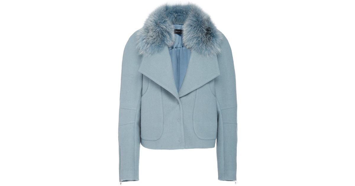 In Sally Jacket Lapointe Lyst Bomber Fur Blue Cady Trimmed PR0Rdw7q ff647f872eb