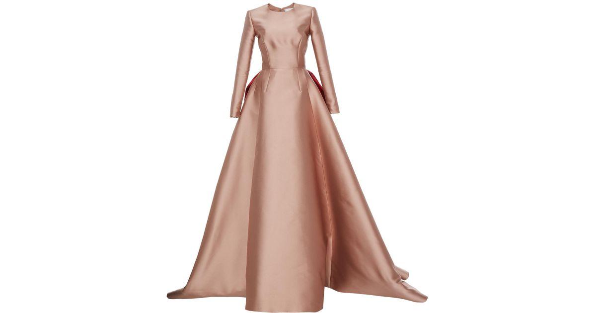 Lyst - Reem Acra Mikado Scuba Long Sleeve Ball Gown in Pink