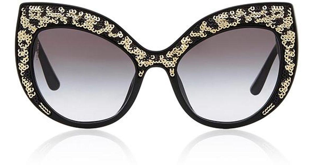 376d3f44d97 Lyst - Dolce   Gabbana Leo Leopard-print Acetate Cat-eye Sunglasses in Black