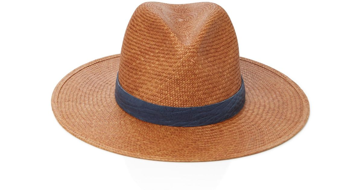 b8826c0db78d5 Janessa Leone Leather-trimmed Straw Panama Hat in Brown - Lyst
