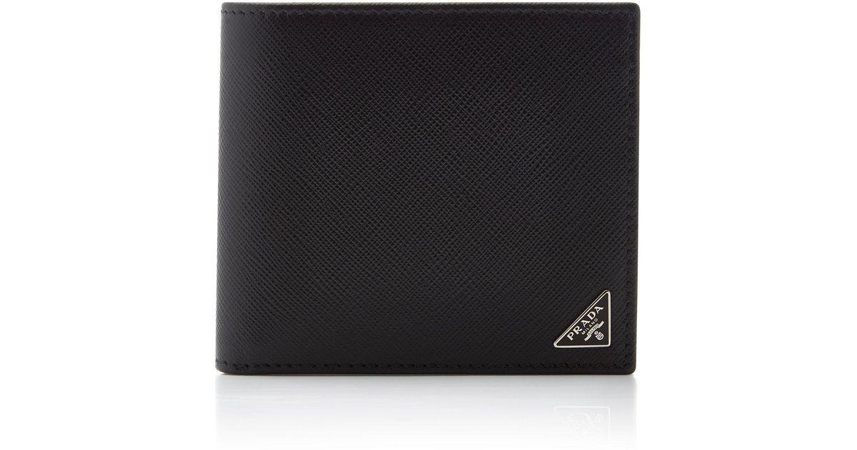 37a5132ceff37e Lyst - Prada Saffiano Leather 8cc Wallet in Black for Men