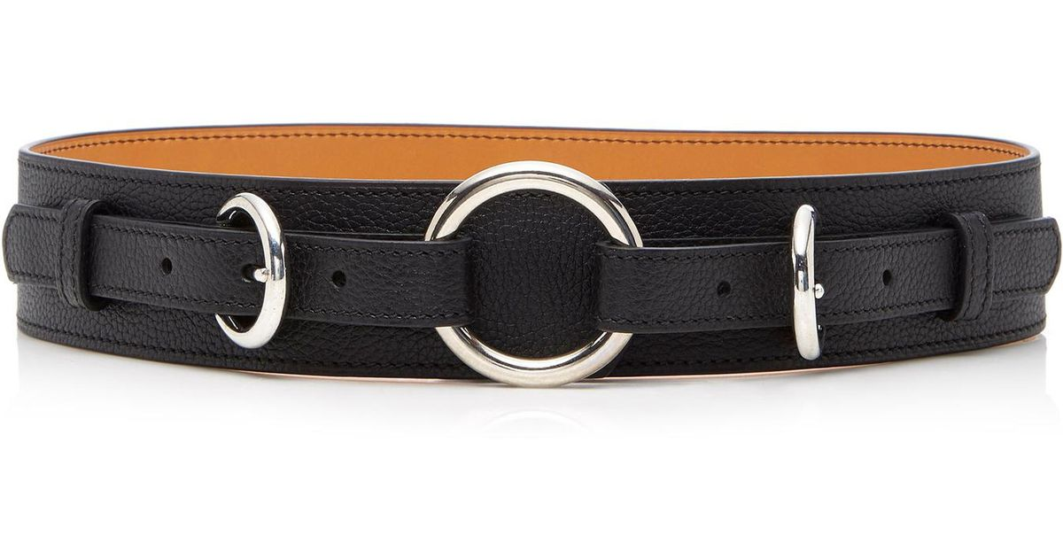 MO exclusive Equestrian Ring Textured-Leather Belt Maison Vaincourt mrW16nTR