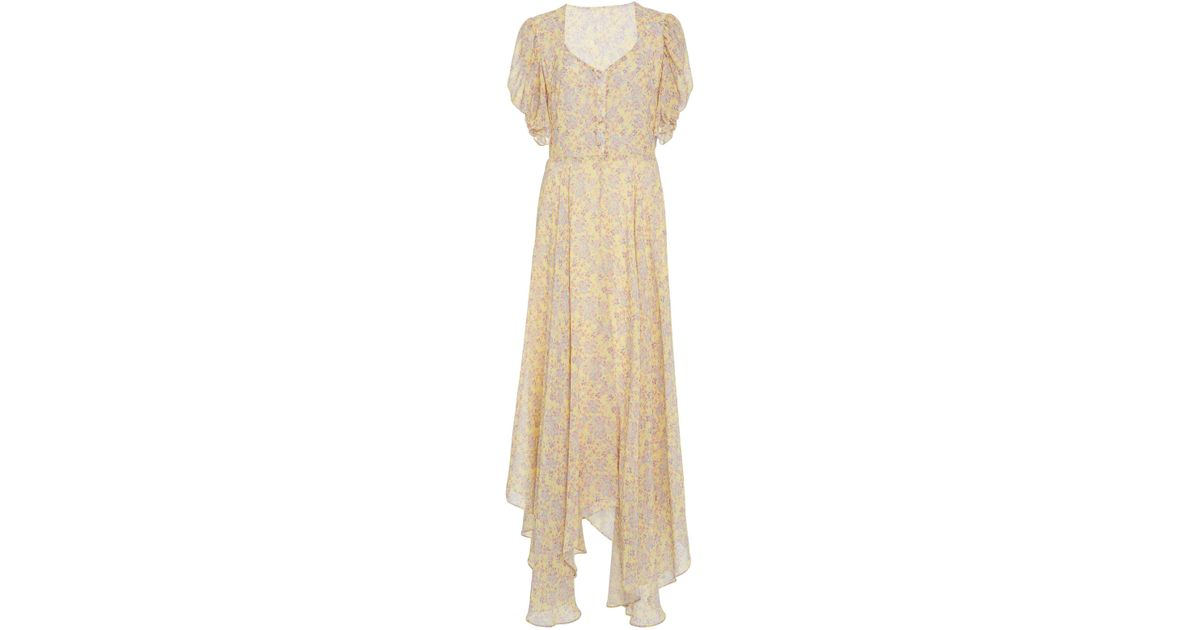 4b451ea47c65 LoveShackFancy Coralie Silk Floral Maxi Dress in Yellow - Lyst