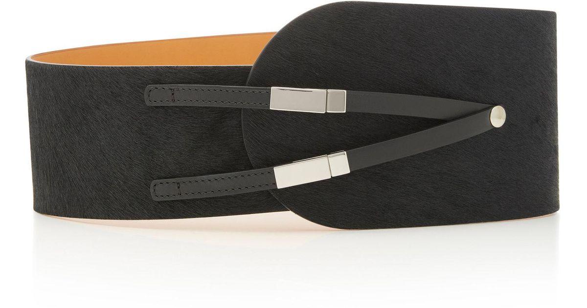 Leather-Trimmed Calf-Hair Belt Maison Vaincourt Ue8Jh