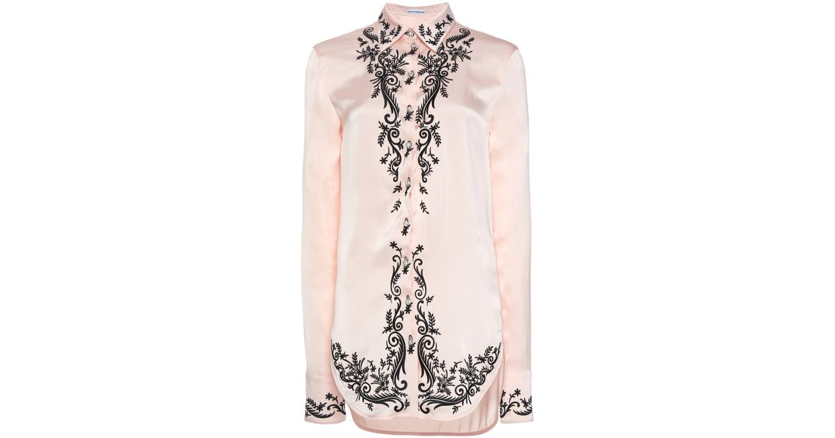 c554e6f6 Lyst - Paco Rabanne Embroidered Satin Shirt in Pink