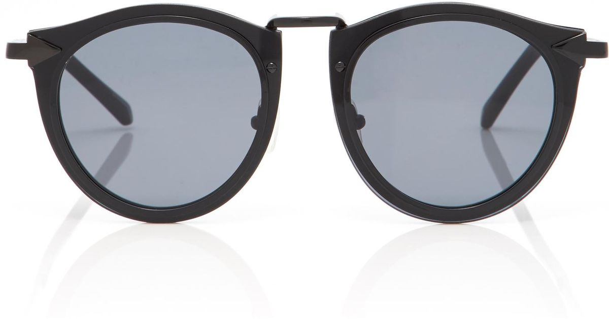 Harvest Round-frame Acetate And Silver-tone Sunglasses - Black Karen Walker GFJmXjTB