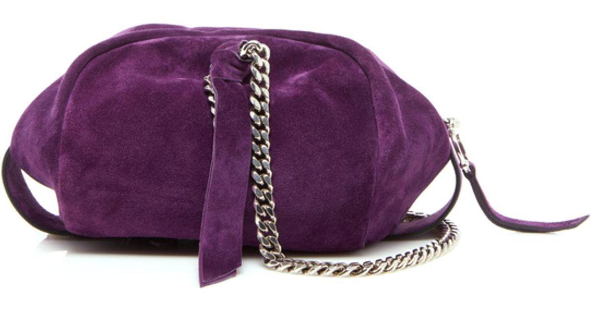 ce049ab8bd8 Lyst - Balmain Suede Mini Moon Bowling Bag in Purple