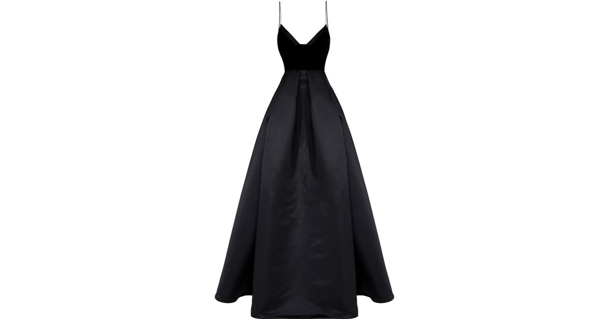 a42b459a1e Alex Perry Raine Silk And Velvet Gown in Black - Lyst