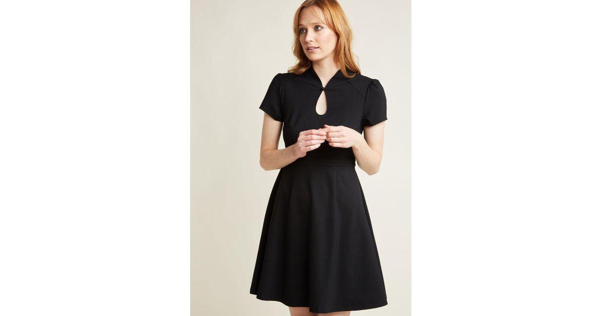 d5a88659d0 ModCloth - High Society Style Short Sleeve Dress In Black - Lyst