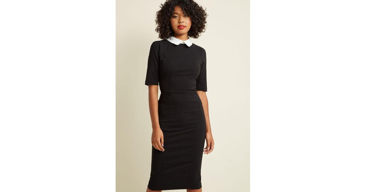 0f2839f4491 Collectif Make My Wednesday Fitted Midi Dress in Black - Lyst