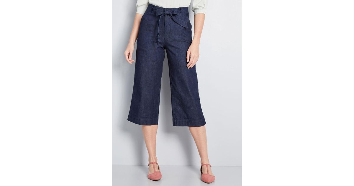 a674a6ca04 ModCloth Curated Taste Cropped Wide-leg Pants in Blue - Lyst