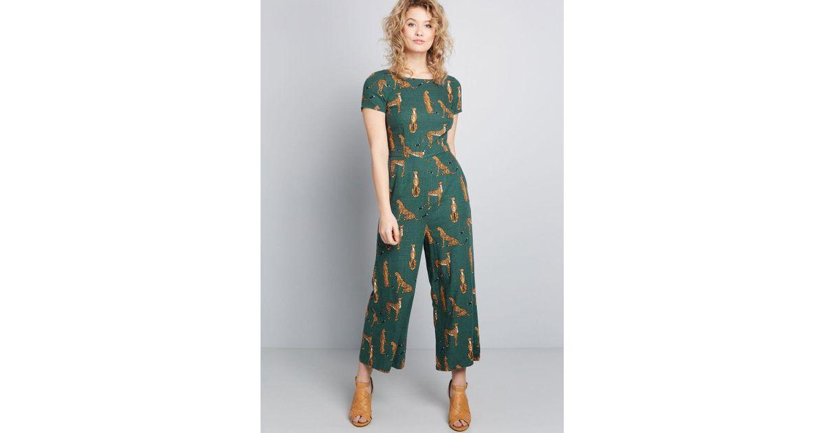 d7e24d0801e1b Lyst - ModCloth Bold Notion Wide-leg Jumpsuit in Green