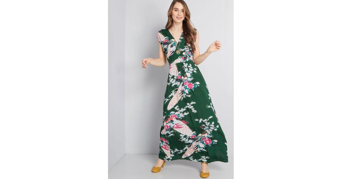 df7d8a0994 Lyst - ModCloth Feeling Serene Maxi Dress in Green