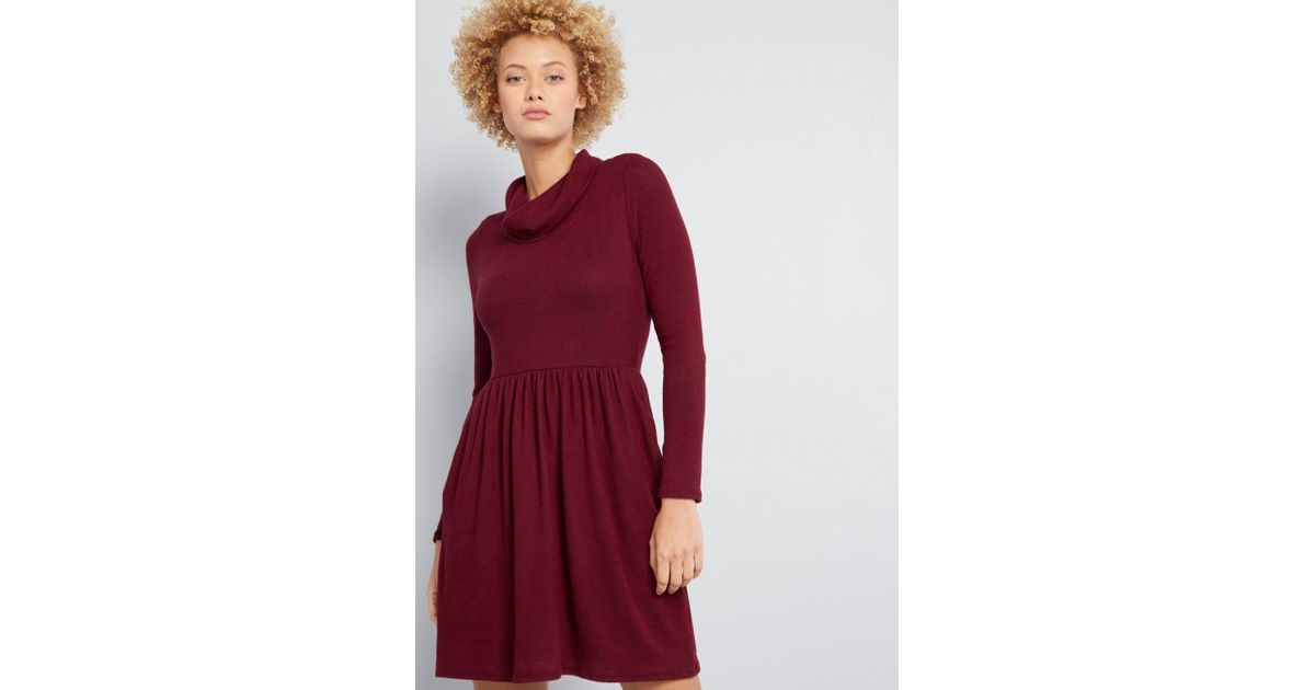 883379733d Lyst - Modcloth Honoring Hygge Knit Dress in Red