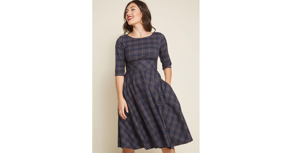 Lyst - Hell Bunny Acknowledged Allure Fit And Flare Dress in Blue 26244214e