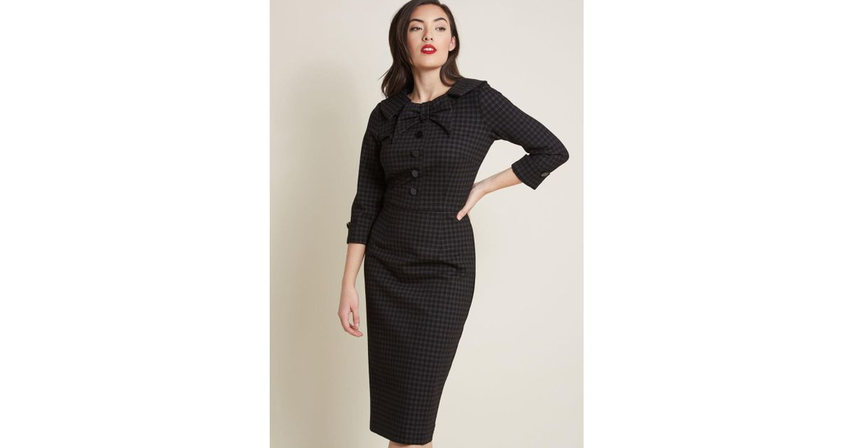 85ad85292b0bf Lyst - ModCloth Evocative Aesthetic Sheath Dress In Plaid in Black