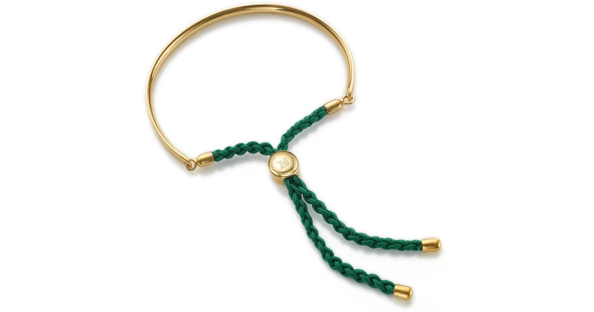 Fiji Friendship Bracelet - Racing Green, Rose Gold Vermeil on Silver Monica Vinader