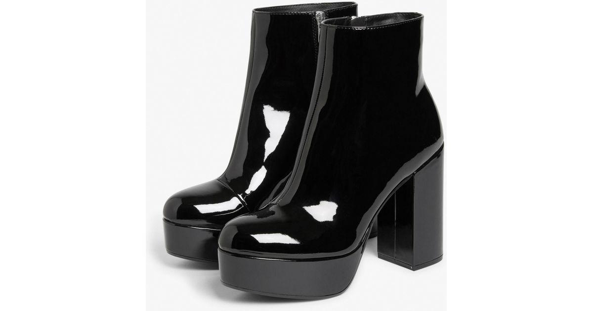 4a18e38a2e4 Monki Patent Platform Boots in Black - Lyst