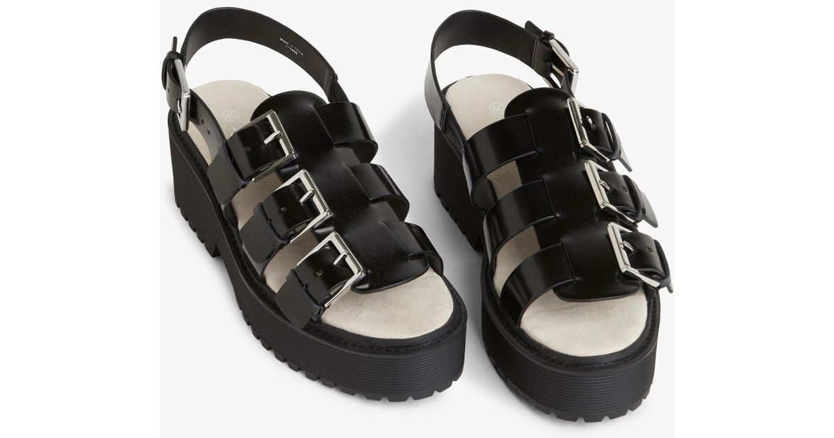 9bc09c1ad84e Monki Platform Slingback Sandals in Black - Lyst