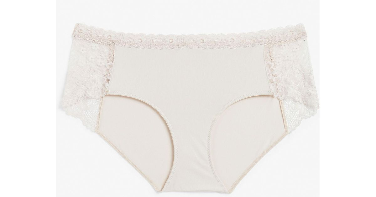 1abeb223b3 Monki Hipster Lace Panel Briefs in White - Lyst
