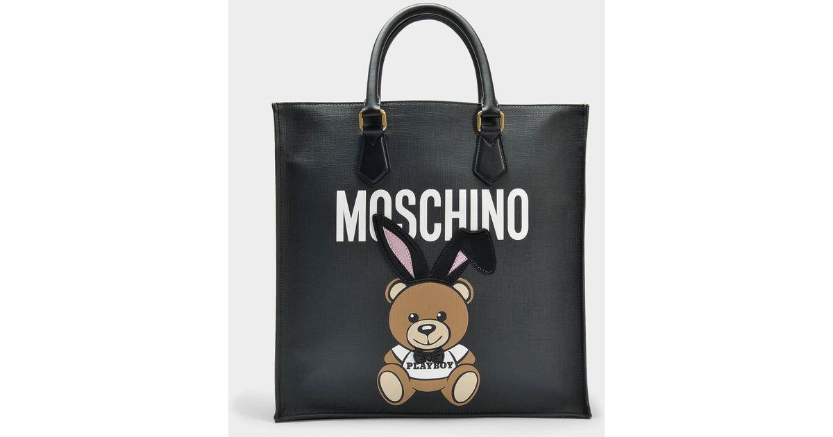 Teddy Playboy Shopper Bag in Black Saffiano Moschino hKRB9bSh2S