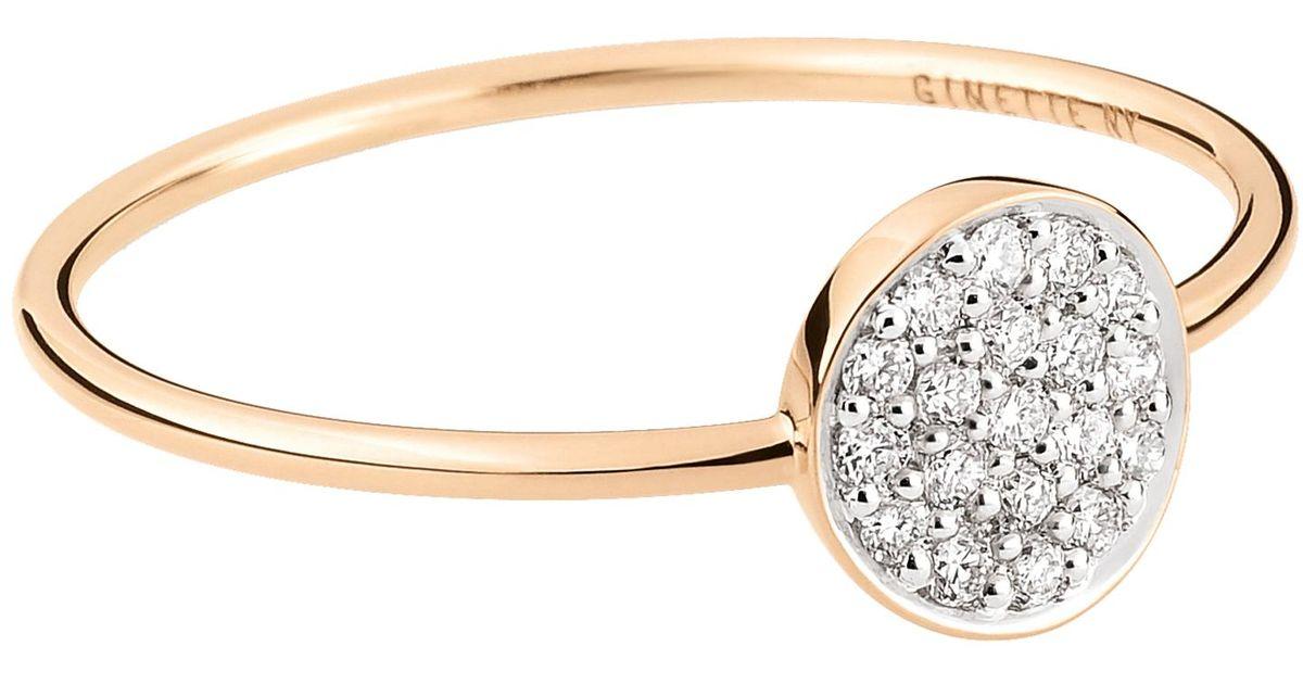 Lonely Diamond 18-karat rose gold and diamond ring Ginette NY Z3E5W