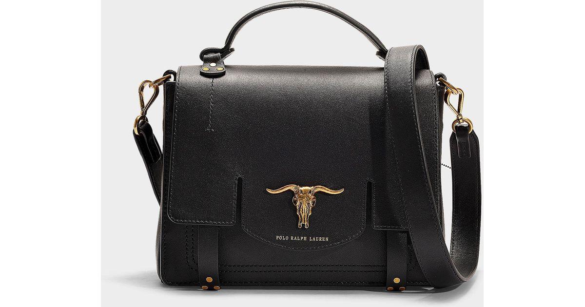 bf56f17091 Polo Ralph Lauren Schooly Top Handle Small Bag In Black Calfskin in Black -  Lyst