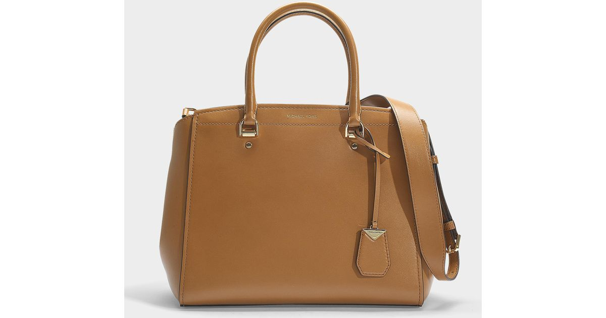 be9fa48da9e4db Lyst - MICHAEL Michael Kors Benning Large Satchel In Brown Calfskin in Brown