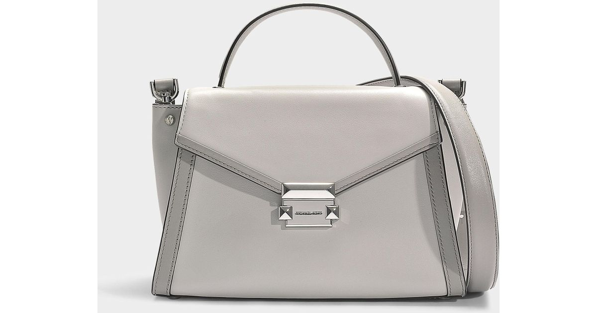 Michael Kors Whitney Medium Leather Satchel in Gray - Save 3% - Lyst 402c940d456b6