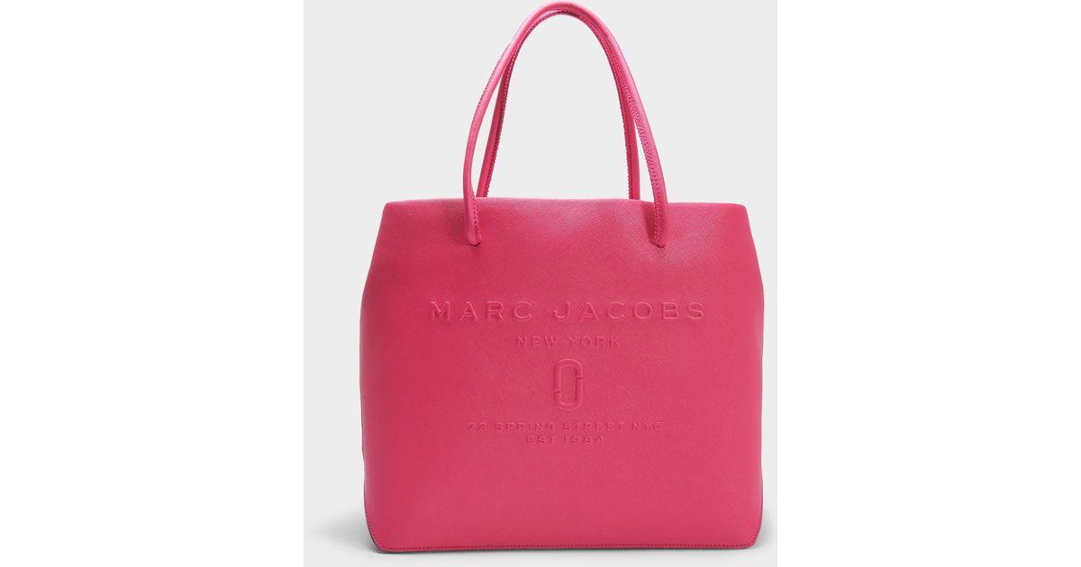 Marc Jacobs Sac Shopper EW Logo en Cuir Hydrangea Craquelé WPvljjN73u