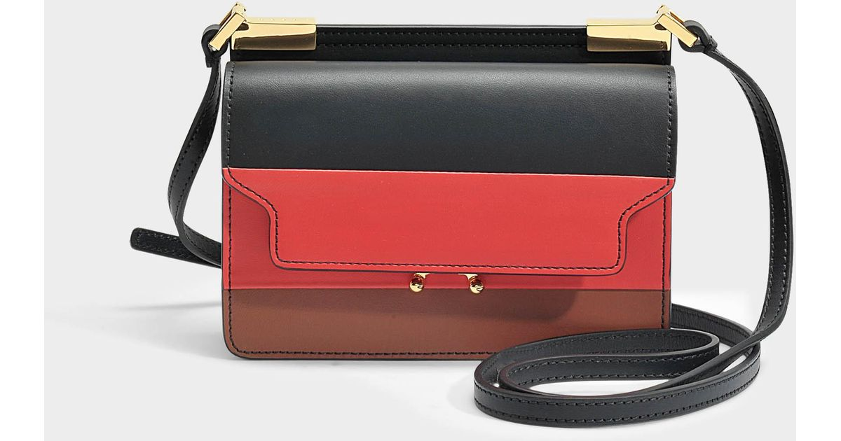 Trunk Micro Tricolor Bag in Black, Red and Maroon Calf Leather Marni