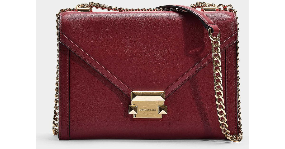 042a6bfeb264 MICHAEL Michael Kors Whitney Large Shoulder Bag In Red Calfskin in Red -  Lyst