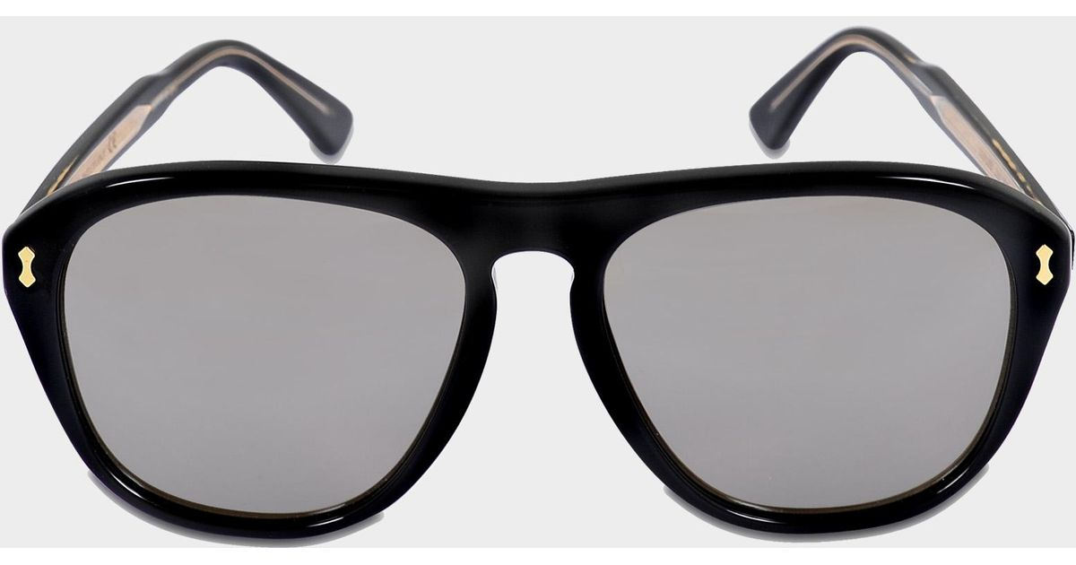 eaaa73dfada Gucci Aviator Mirror Sunglasses In Shiny Black And Crystal Acetate in Black  - Lyst