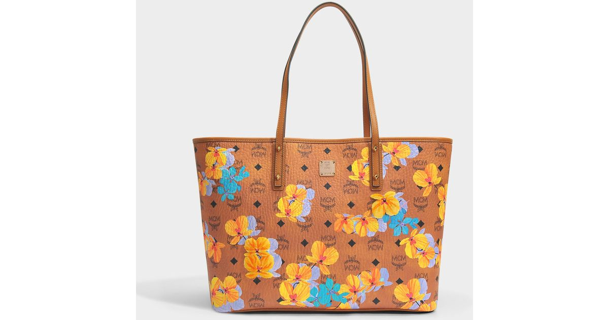 Mcm Fleur Sac Shopping Moyen En Coton Enduit De Cognac tfF5j2nvs