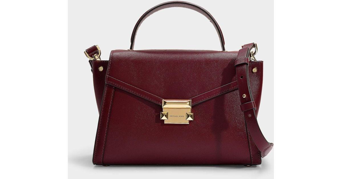 82ac7ad2779d Lyst - MICHAEL Michael Kors Whitney Medium Top Handle Satchel Bag In  Oxblood Calfskin in Red