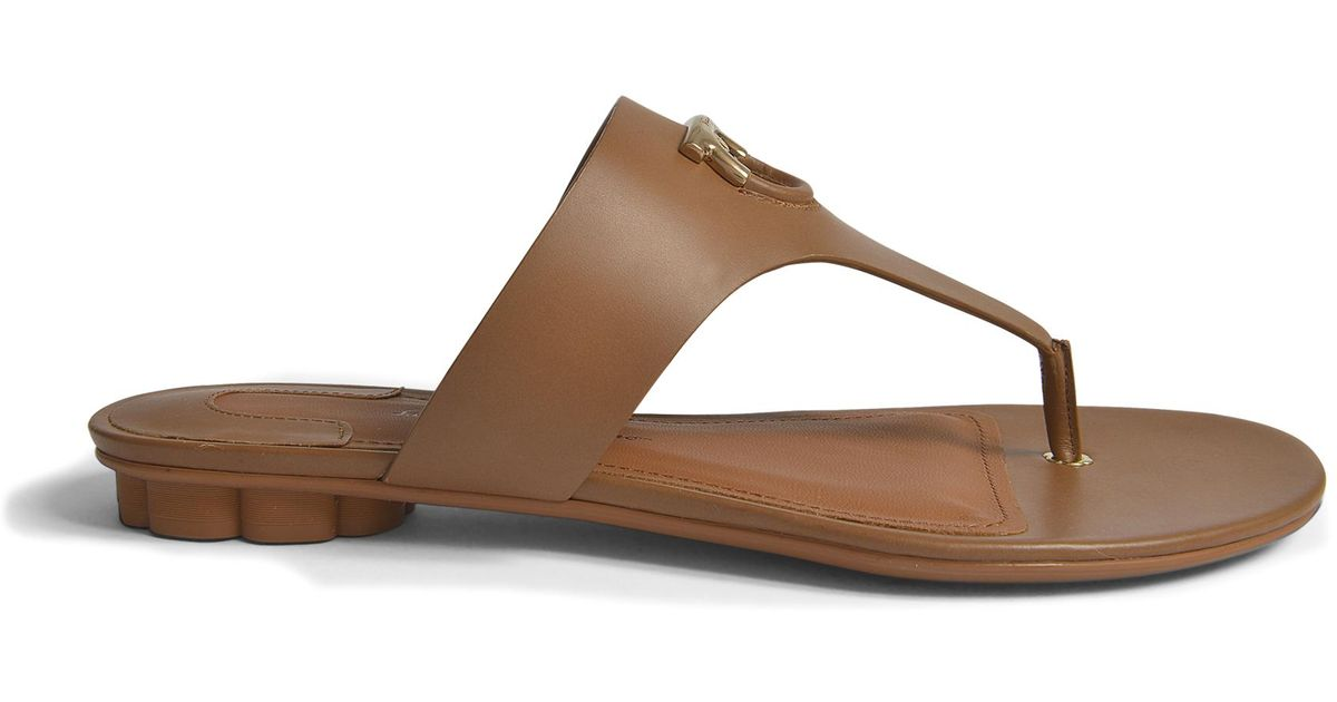 Enfola Thong Shoes in Medium Brown Alexand Calf Leather Salvatore Ferragamo sON1Yv