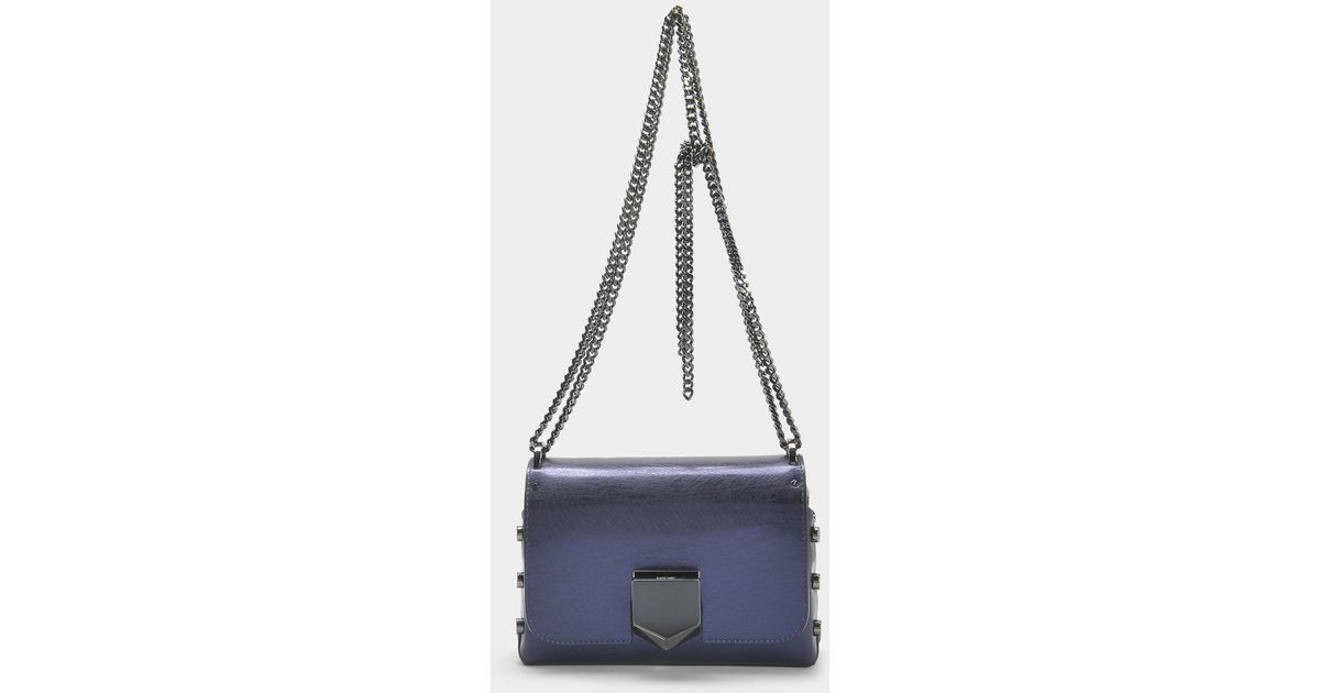 19cea91eb254 Lyst - Jimmy Choo Lockett Petite Bag In Navy Etched Metallic Spazzolato  Leather in Blue
