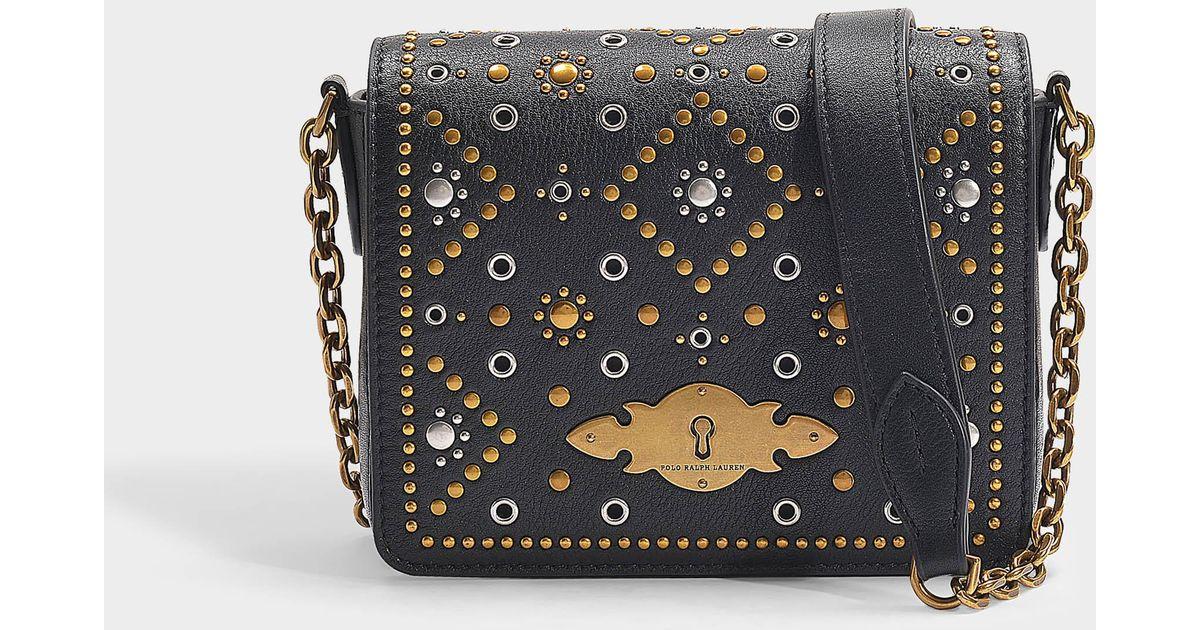 21e6976a3da03 Polo Ralph Lauren Handtasche mit Kettenriemen Brooke aus schwarzem  Kalbsleder in Schwarz - Lyst