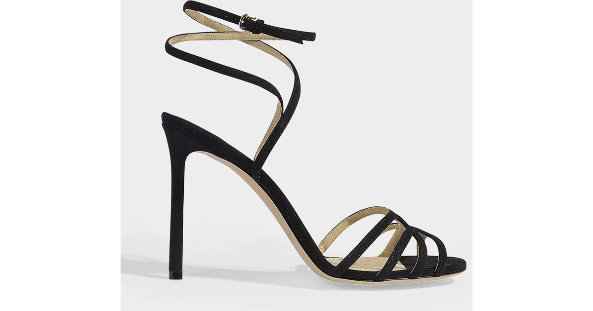 1466fb9e42b Jimmy Choo Mimi 100 Sandals In Black Suede in Black - Lyst
