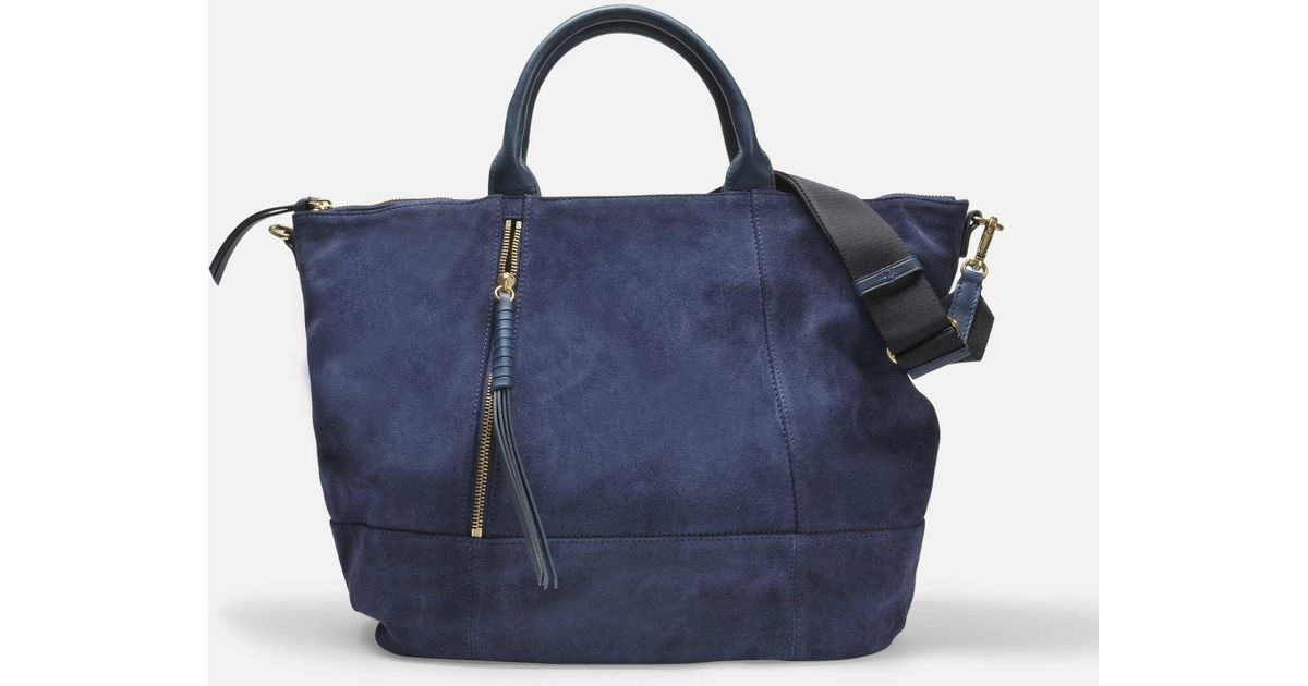 33a923d78b7a Lyst - Sac cabas only you en cuir de veau velours bleu marine Gerard Darel  en coloris Bleu