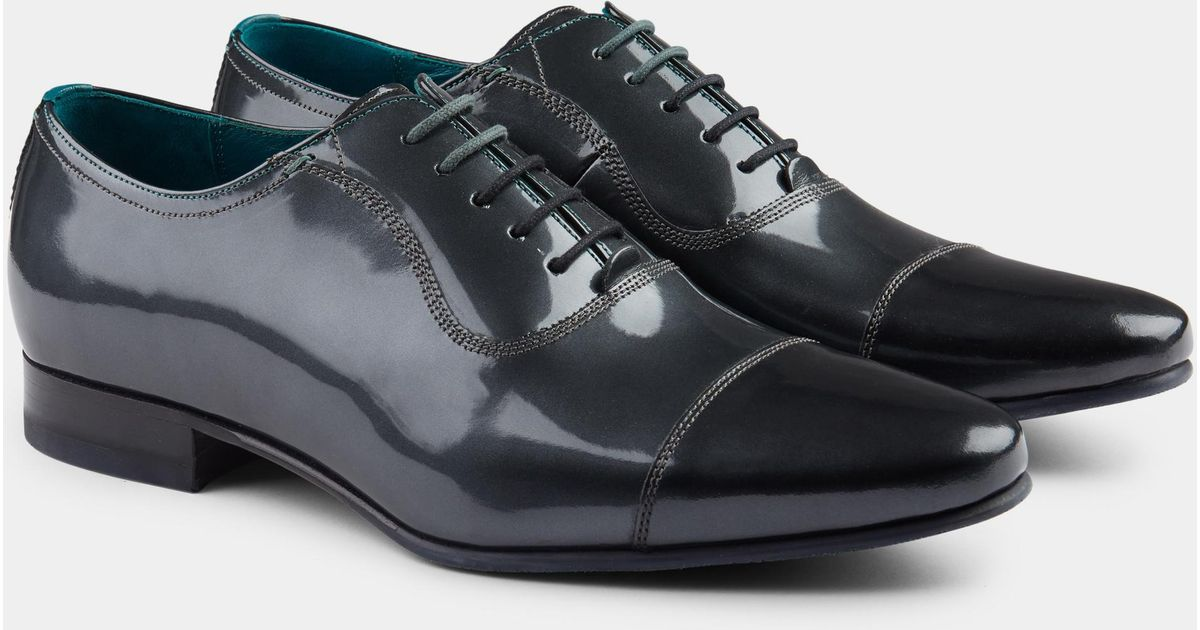 6af2df01e166 Lyst - Ted Baker Sharney Silver Patent Toe Cap Oxford in Metallic for Men