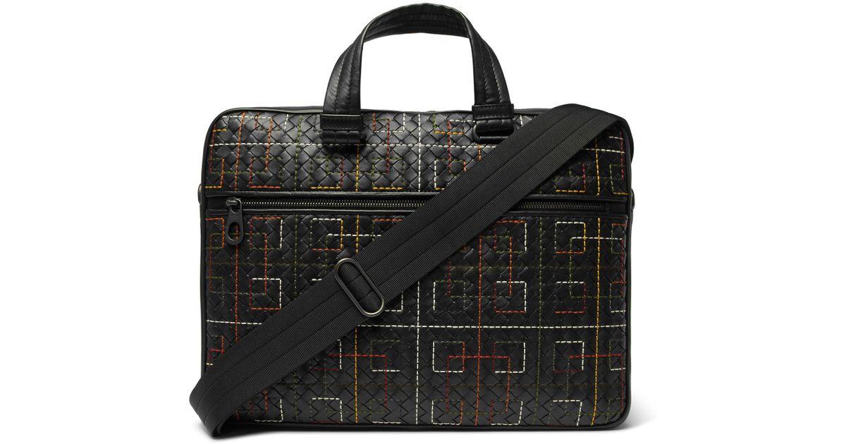 8f2e0300b6d3 Bottega Veneta Embroidered Intrecciato Leather Briefcase in Black for Men -  Lyst