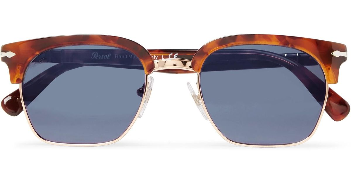 e490272909709 Persol D-frame Gold-tone And Tortoiseshell Acetate Sunglasses in Blue for  Men - Lyst